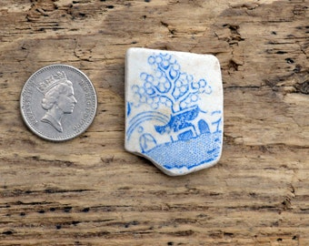 HOUSE & TREE -  Sea Pottery Shard - Scottish Beach Finds - Supplies (4504)
