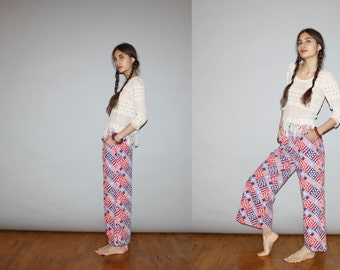 Vintage Mod Hippie 1960s Stars and Stripes Denim Red White and Blue Flare Bell Bottom Jeans   - Vintage Bell Bottoms Jeans   - WB0403