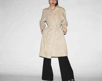 Vintage 1970s Ivory Wool Women's Trench Coat - Vintage 70s Trench - 1970s Wool Coat  - WO0334