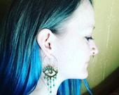 Beaded eye chandelier hoops, eyeball jewelry, Elke eye earrings