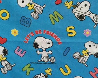Vintage Snoopy Twin Flat Bed Sheet , Bed Linens,   Let's Be Friends Snoopy with Woodstock