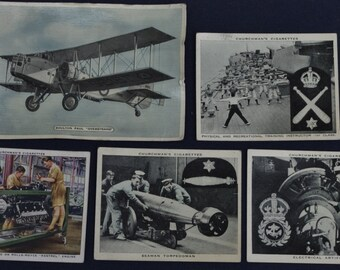 Collection of Vintage Cigarette cards -  Military - World War II - Modern Wonders - c1950s