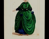 Antique print 1852 Antique WOMAN COSTUMES print. Lady of the court a green dress, women fashion of the 18th century, Reign of Louis 14