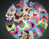 36 Crochet Granny Square Blocks for Afghan - Multicolored - Lot C7
