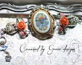French Garden ~ RESERVED vintage assemblage bracelet Lenox china  roses one of a kind bracelet crowned by grace