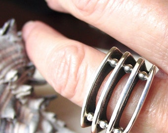 Four Story Silver Sterling Ring
