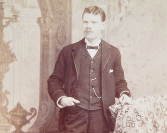 Antique Cabinet Card Vintage Photography Black & White Photo Card with Gold Pinked Edges FL Huff Newark NJ 1891 Man with Pocket Watch