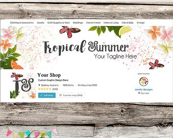Etsy Shop Set - Premade Etsy Cover - Etsy Shop Banner - Etsy Cover - Etsy Shop Icon - Avatar - Tropical Summer