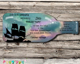 Pirate Party - Ship in a Bottle - Neverland - Birthday Party, Baby Shower or Wedding Invitation - Printable - DIY - Digital File