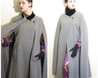 Vintage Grey Wool Long Cloak Coat / 1980s 1990s Neo Edwardian Gray Cape Black Velvet Collar Coat Saks Fifth Avenue