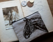 Hipster Coin Pouch, Vintage Style Original Horse Drawing on a  Small Change Purse, Made in Canada