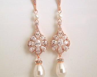 Pearl Earrings Bridal Earrings vintage style swarovski crystal chandelier earring Bridal Pearl Earrings Rose Gold Swarovski Earring BROOK
