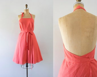 1960s Down By The Seashore coral wrap dress / 60s linen beauty