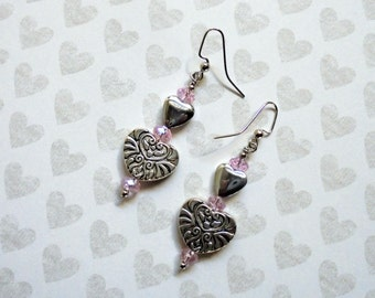 Silver and Pink Heart Earrings (2430)