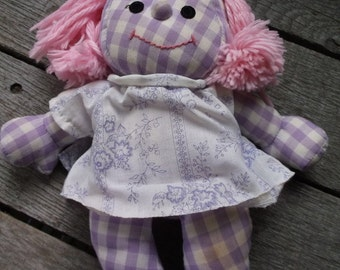 Vintage 1973 Romper Room Softies Purple Lavender Doll with Gingham or Plaid fabric body pink hair and dress Easy to Love