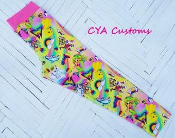 Capri length leggings girl size 10 bright rainbow cute animals