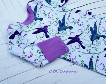 Infant gown baby girl sleeper pajamas fits 0-3 months up to 12 lbs. hummingbirds
