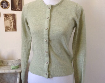 90s does 50s wool pale green sweater cardigan rinestones buttons