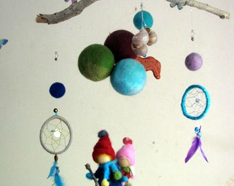 Nursery mobile Waldorf inspired Needle felted  Crib decoration In dream land
