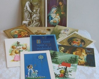Vintage Christmas Cards Religious Unused Boxed Set of 11 With Envelopes Lot By Passionist Missionaries, Catholic Classic & Whimsical