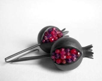 Pomegranate Earrings - Pomegranate Silver Earrings - Ruby Silver Earrings - pomegranate ruby earrings - pomegranate jewelry