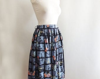1950s Cotton Novelty Print Circle Skirt // Blue and Black Thatched Print with Flowers Butterflies // By Ilene Rick // Size Extra Small