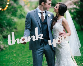 Rustic Thank You Sign for Wedding Photos, DIY Thank You Cards Photo Prop Wooden Words for Photography & Decor (Item - TYU100)