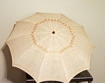 vintage eyelet parasol - 1950s-60s taupe cotton folding umbrella