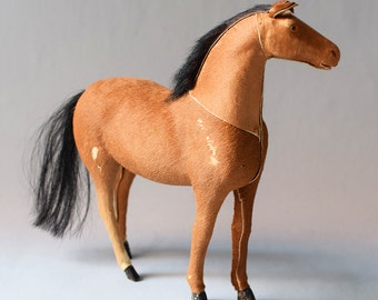 Vintage Horse Toy Real Horsehair Hide Taxidermy