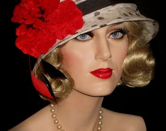 DOWNTON DIVA CLOCHE- Art Deco Derby Cloche Hat, 20s Gatsby Hat, Downton Abbey Cloche Hat, Tea Party Hat, Red, Black & White Polka Dot Hat