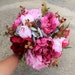 Red, Pink & Dusty Blue Color Silk Flower Bouquet, Bridal, Floral, Wedding, Green, Faux, Peony, Rose, Hydrangea, Natural, Organic, Loose