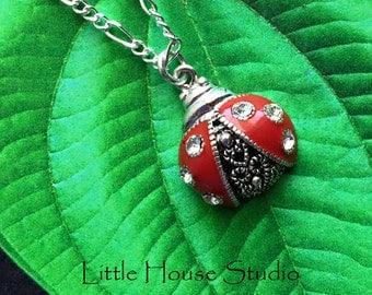 Lady Bug Necklace Enamel Red and Rhinestones Silver Chain