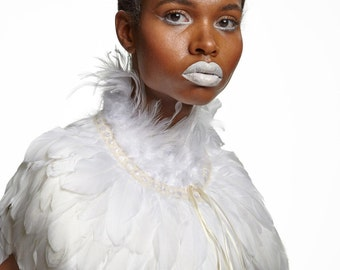 Ivory white Feather high collar capelet // Feather cape dripping with white feathers