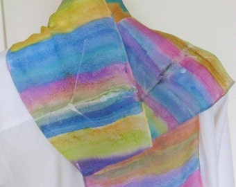 Hand painted silk scarf colourful rowing scarf 8x54 Canadian design