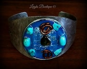 Orgone Energy Bracelet, Dual point power crystals, Turquoise & Baltic Amber Orgone Cuff Bangle Bracelet