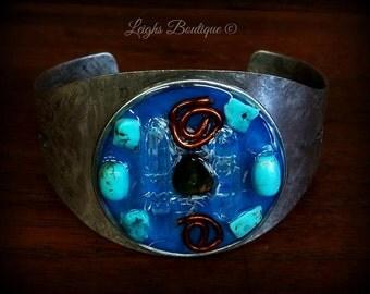 Orgone Energy Bracelet, Dual point power crystals, Turquoise & Baltic Amber Orgone Cuff Bangle Bracelet