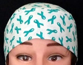 Handmade Ovarian Cancer Chemo Cap, Hair Loss, Bandanna, Head Cover, Head Wrap, Hat, Bald, Do Rag, motorcycle, helmet liner, skull cap