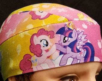 Rainbow My Little Pony Chemo Cap or Skull Cap, Children, Hair Loss, Bald, Alopecia, Hats, Handmade, Head Wrap, Bandana, Surgical Cap, Liners