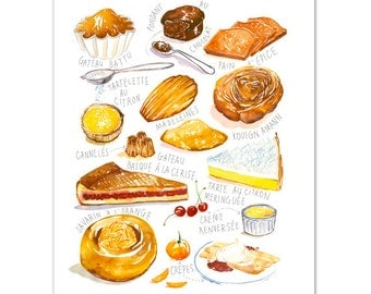 French bakery print No 2, Kitchen art, French Bakery illustration, Pastry chart, Food artwork, Watercolor Cake painting, Kitchen wall decor