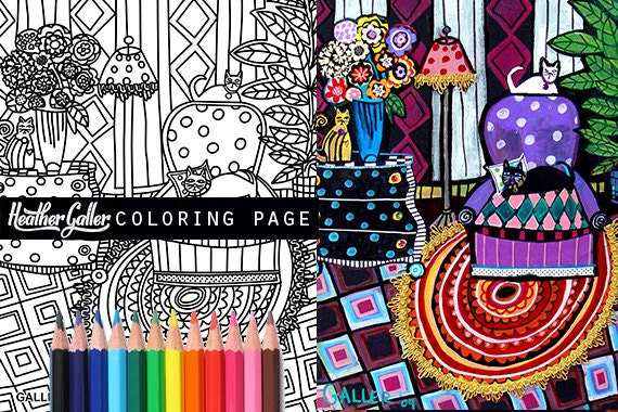 Folk art cat coloring coloring book adult coloring book for Folk art coloring pages