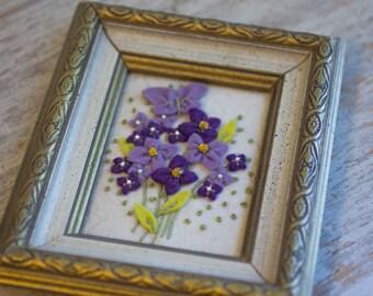 Vintage Purple Felt Flowers Framed, Lavender Violets, Miniature Artwork, Framed Flower Art, Tiny Art, Bedroom Decor, Vanity Framed Art
