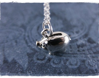 Silver Piggy Bank Necklace - Sterling Silver Piggy Bank Charm on a Delicate Sterling Silver Cable Chain or Charm Only