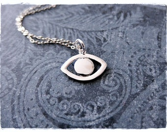Silver Evil Eye Necklace - Sterling Silver Evil Eye Charm on a Delicate Sterling Silver Cable Chain or Charm Only