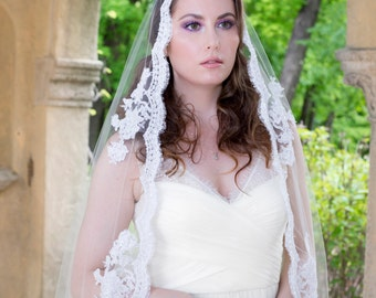 Wedding Veil - Full Mantilla with Vintage Beaded French Alencon Lace