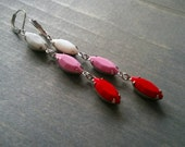 Valentine earrings, red pink white and silver, Valentine's Day Jewelry