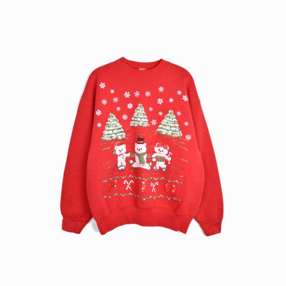 Vintage Tacky Christmas Sweater / Red Glitter Holiday Sweater / Holiday Sweatshirt / Ice-Skating Teddy Bears - large