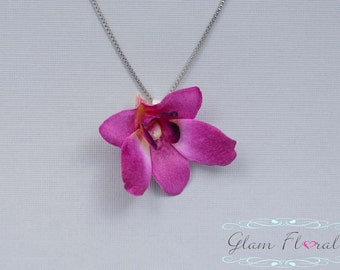 Mini Dendrobium Orchid Necklace in Purple, Real Touch Flowers