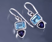 Blue Topaz and Amethyst Earrings, Sterling Silver, 925, Designer, Signed, SAW, Genuine, Estate Jewelry