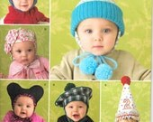Simplicity 2585 Baby Hats in Three Sizes/ Birthday/ Tam/ Beret/ Dunce/ Mouse Ears/ Cone/ uncut