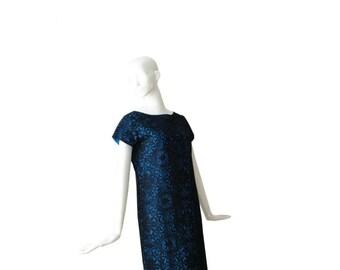 1960s Dress • 60s Lace Cocktail Party Dress • Blue Black • Medium Large M L